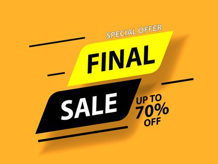 Special offer final sale banner with shadow on yellow background, up to 70 off. Vector illustration. Ilustração