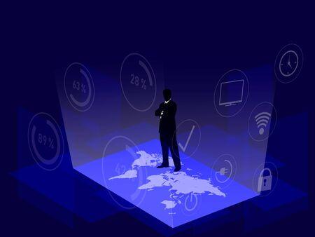 Digital technology, background, modern silhouette designe 3d