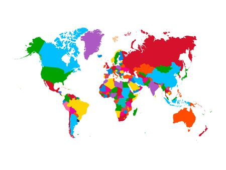 Colorful map of World. High detail political map with country names. Vector illustration.