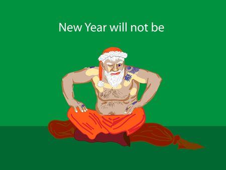 Il n'y aura pas de nouvelle année. Gangster humoristique Santa Claus Vecteurs