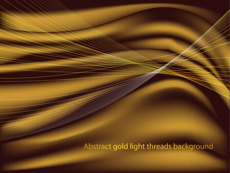 Abstract gold light threads background. Satin silk fabric. Reklamní fotografie