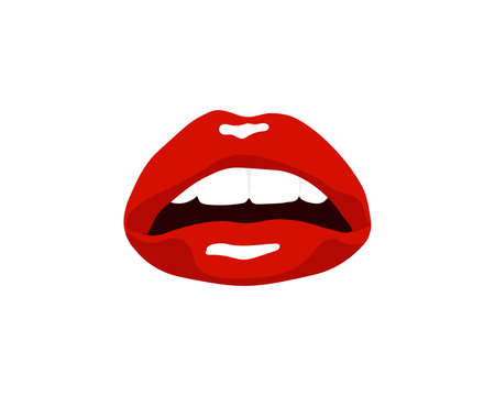 Collection of red lips. Vector illustration of a womans sexy lips expressing different emotions such as smile, kiss, half-open mouth, lip biting, lip licking, tongue out. Isolated on white. Ilustração