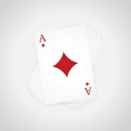 Ace of Diamonds at the top of the deck of cards Illustration