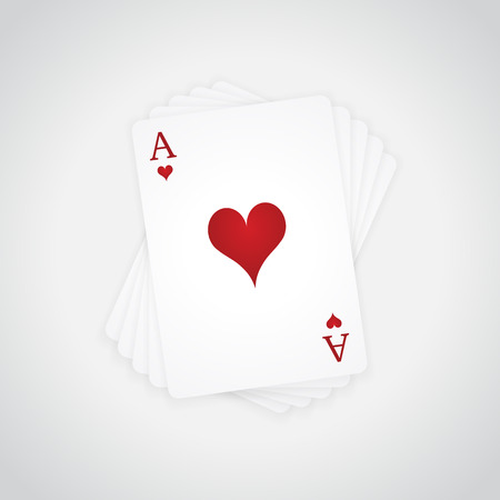 Ace of Hearts at the top of the deck of cards Illustration