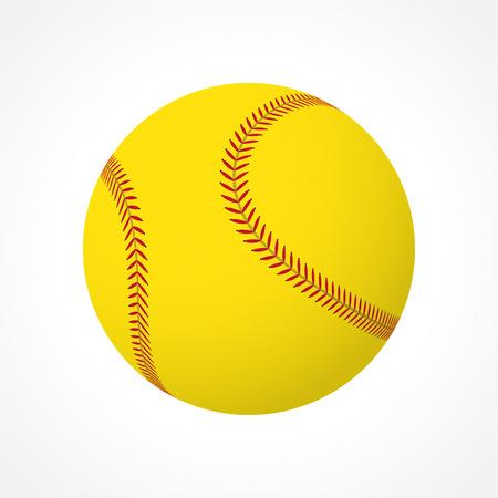 Bola de softball realista aislado en fondo blanco