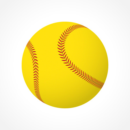 Realistic softball ball isolated on white background Vettoriali