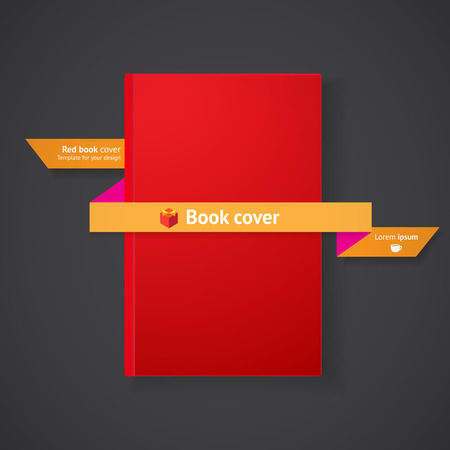 Blank red book cover with ribbon on grey background for your design