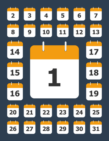 Set of flat calendar pages with round corners