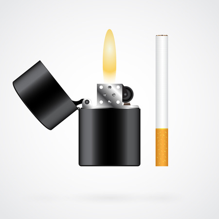 Realistic black lighter and cigarette isolated on white background Vector