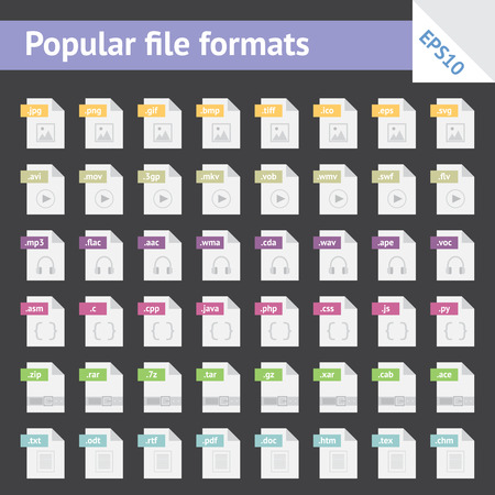 Set of light colorful flat icons with popular file formats Illustration