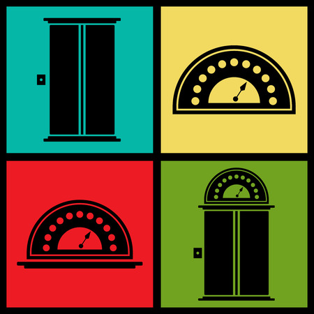 an elevator: Set of colorful retro icons with elevators