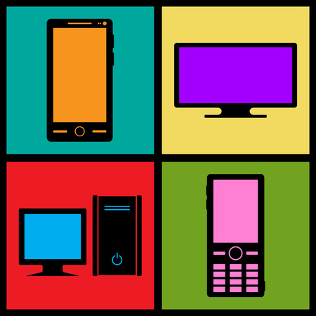 Set of retro icons — phones and computers Illustration