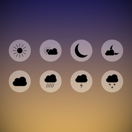 Set of beautiful dark transparent weather icons