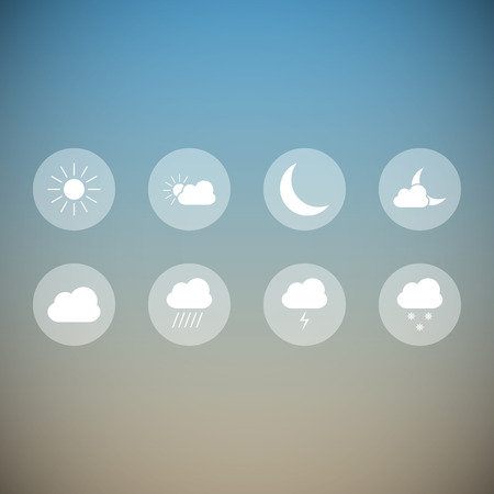 Set of beautiful light transparent weather icons Vector