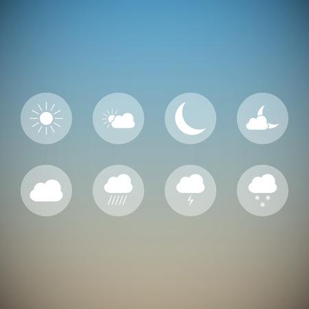 Set of beautiful light transparent weather icons Illustration