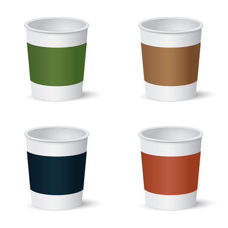 Set of colorful paper coffee cups isolated on white background