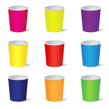 Set of colorful party cups isolated on white background Illustration