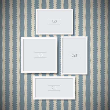 Set of photo frames on vintage background