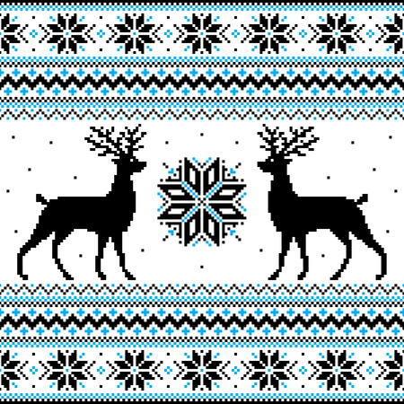 pixel art: Beautiful winter ornament with deer and snowflakes
