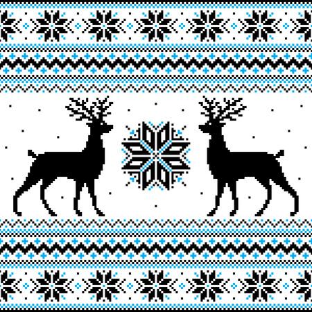 Mooie winter ornament met herten en sneeuwvlokken Stock Illustratie