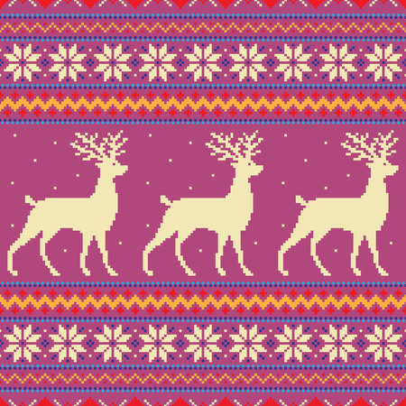 Abstract winter background with deer and snowflakes Illustration