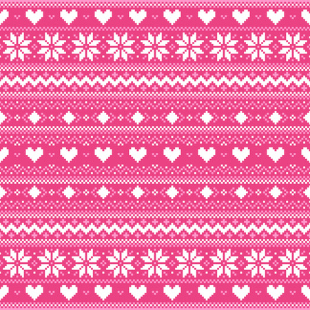 Abstract winter background with hearts and snowflakes Vector