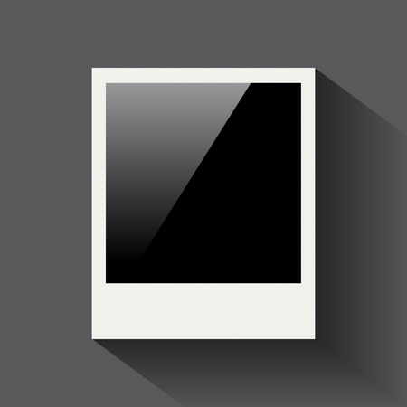 Blank photo frame on grey background for your design Illustration