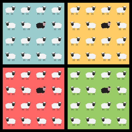 Set of colorful seamless backgrounds with cute sheep