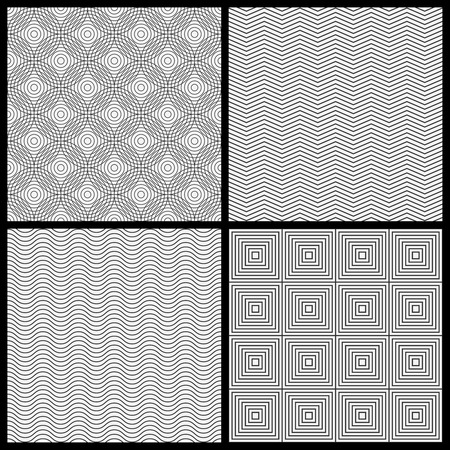 Set of monochrome geometric seamleess patterns for your design Vector