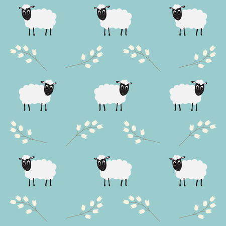 Seamless pattern with flowers and sheep on blue background