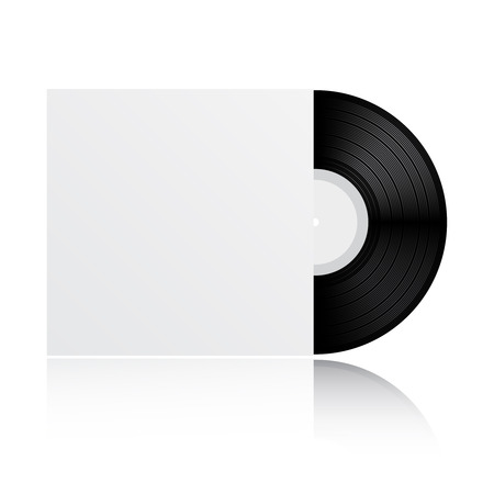 vinyl: Vinyl record with blank cover isolated on white background