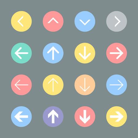 Arrow sign icon set  Flat design  Illustration