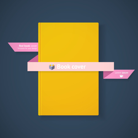 Blank yellow book cover with ribbon on dark blue background for your design Vector