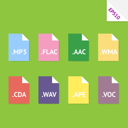 Set of beautiful flat icons with popular audio file formats Vector