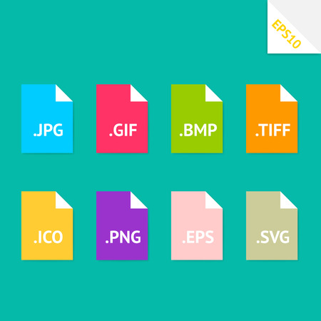svg: Set of beautiful flat icons with popular image file formats