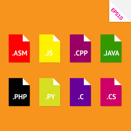 Set of beautiful flat icons with popular source code file formats Vector