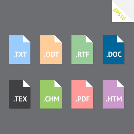 Set of beautiful flat icons with popular text file formats Vector