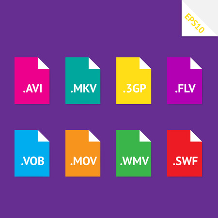 avi: Set of beautiful flat icons with popular video file formats