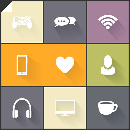 Beautiful white flat icons for web and mobile applications Vector