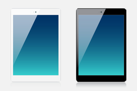 Two realistic small tablets isolated on white background Vector