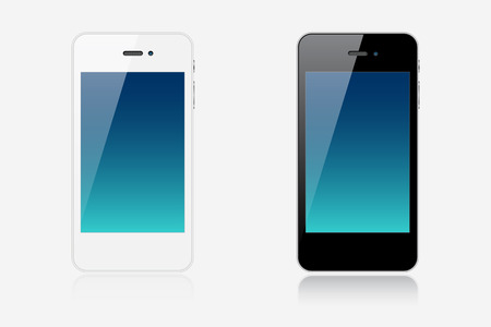 Two realistic modern smartphones isolated on white background Illustration