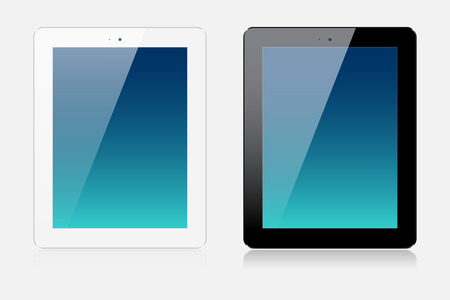 Two realistic modern tablets isolated on white background Vector