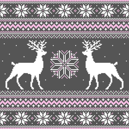 Cute winter ornament with deer and snowflakes