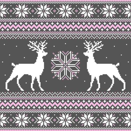 Ornamento lindo del invierno con los ciervos y los copos de nieve Vectores