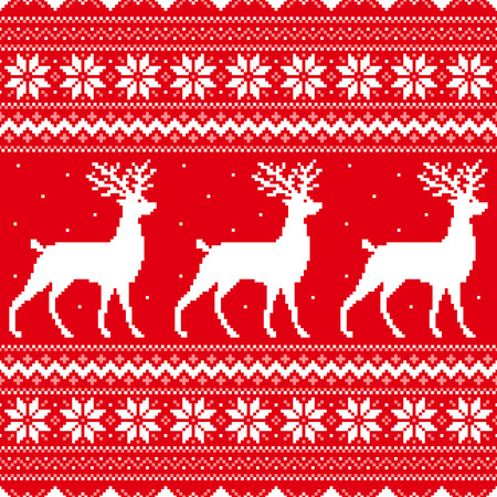 Abstract winter red background with deer and snowflakes Vector
