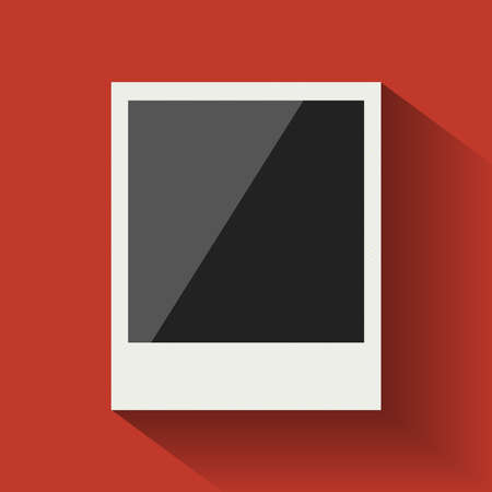 polaroid: Blank flat photo frame on red background for your design