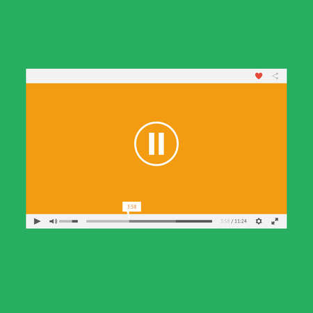 Flat video player for web and mobile apps Vector
