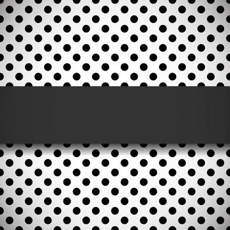 Elegant black banner on seamless black and white polka dot pattern Illustration