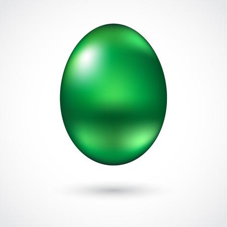 Green metallic Easter egg isolated on white background Illustration
