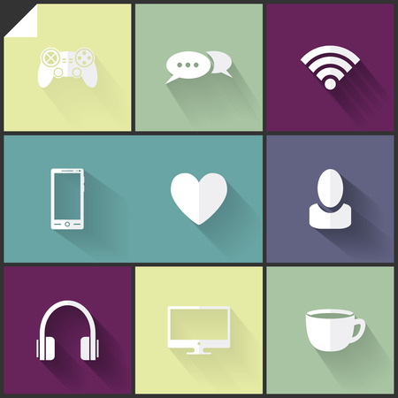Beautiful two-colored (white and grey) flat icons for web and mobile applications Vector